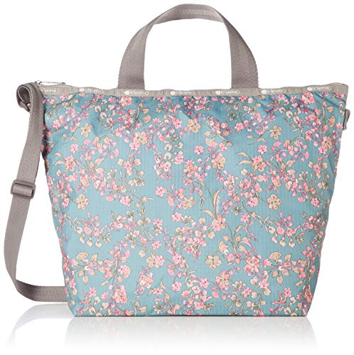 LeSportsac Laelia Moss Easy Carry Tote Crossbody + Top Handle Handbag, Style 2431/Color F428, Light Teal Green/Turquoise Bag w Multi-color Laelia Orchids