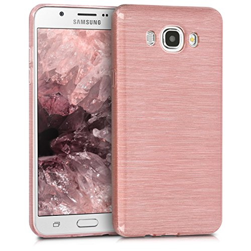 kwmobile Funda Compatible con Samsung Galaxy J7 (2016) - Carcasa de TPU Aluminio Cepillado en Oro Rosa/Transparente
