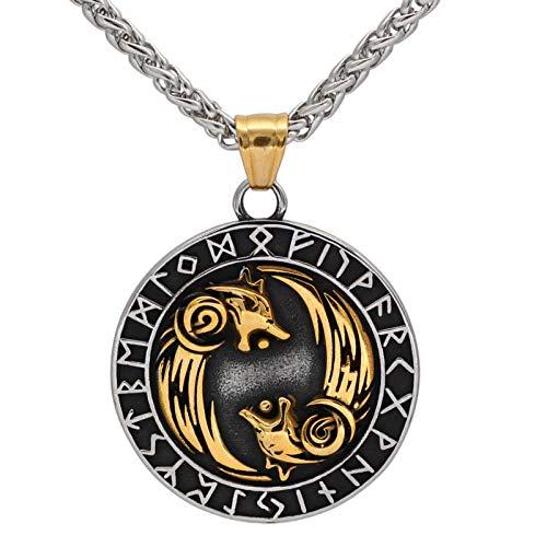 YioKpro Collar de runas de Lobo de Geri y Freki de Acero Inoxidable Vikingo nórdico con Valknut