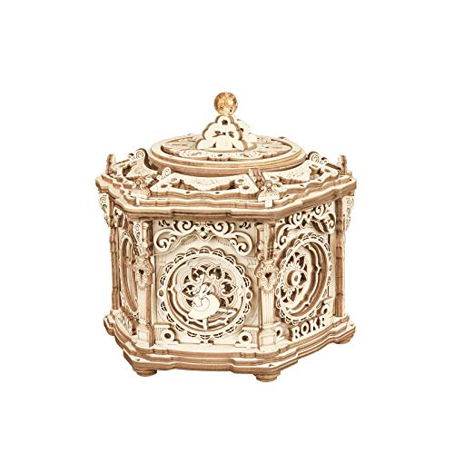 ROKR 3D Wooden Puzzles Delicate Music Box, DIY Mechanical Model Kits, Romantic Gift on Birthday/Valentine's Day, Vintage Style Decoration for Home