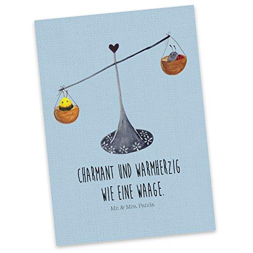 Mr. & Mrs. Panda Geschenkkarte, Karte, Postkarte Sternzeichen Waage mit Spruch - Farbe Blau Pastell