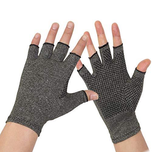 Arthritis Gloves 2 Pairs - Men and women Fingerless Compression Glove Pain Relief for Rheumatoid Arthritis and Osteoarthritis (L/XL)