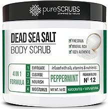 Premium Organic Body Scrub Set - Large 16oz PEPPERMINT BODY SCRUB - Pure Dead Sea Salt Infused With Organic Essential Oils & Nutrients + FREE Wooden Spoon, Loofah & Mini Organic Exfoliating Bar Soap