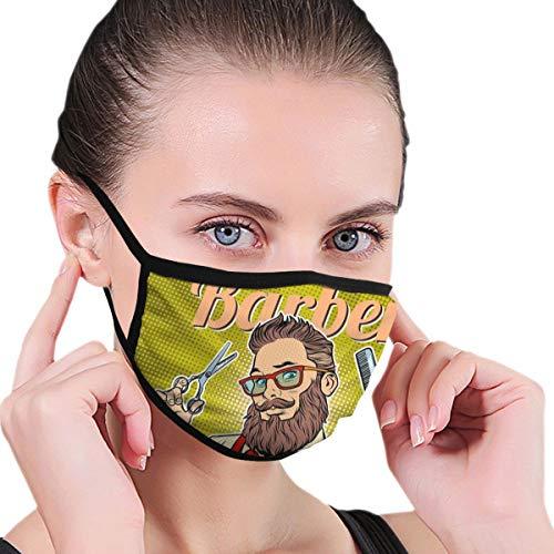 NB Erwachsene Unisex waschbar wiederverwendbar Polyester Anti-Staub Mund in Packungen Bearded Hipster Barber mit Schere und Kamm