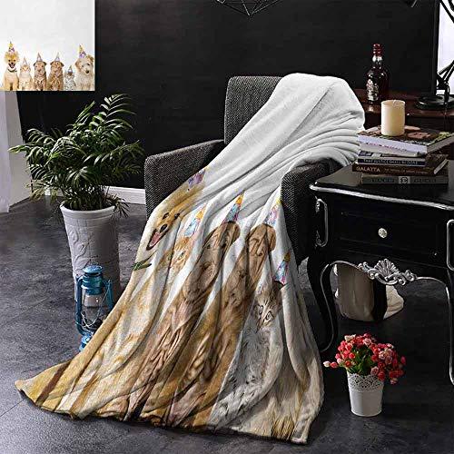 GGACEN bont deken Pastel Gekleurde verjaardagstaart met kaarsen en snoepjes Celebration Image Zachte en comfortabele slaapbank