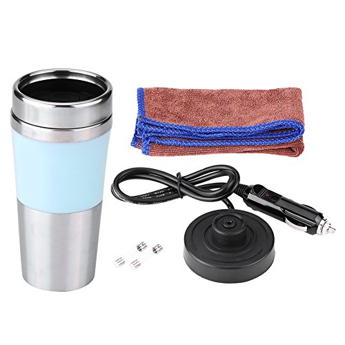 350ML 12V Portable Boiling Mug Kettle, Keenso Car Stainless Steel Heated Cup,Travel Electric Coffee Cup (Blue)