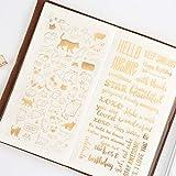 KUNER Adesivi cartoleria Autoadesivo per diario di Agenda Scrapbooking MobilePhone Album Notebook Giornale di Proiettile bulletlet Evento Deco Artigianato Fai da Te Calendario Sticker Gold