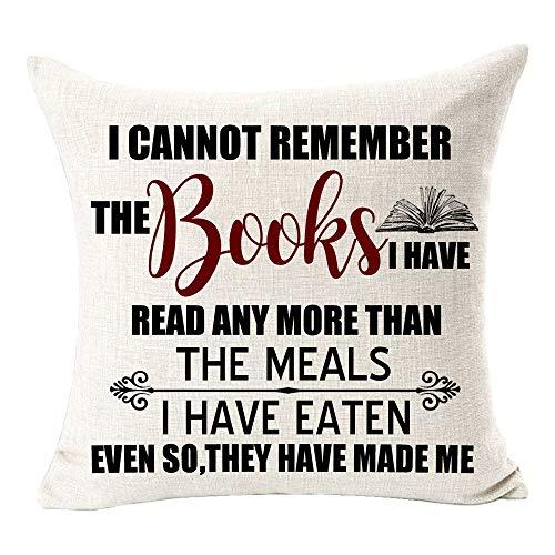 Andreannie Book Lover Book Club Biblioteca livros de leitura Alma Algodão Linho Fronha capa de almofada nova Home Office Interior Decorativo quadrado 45,72 cm x 45,72 cm, P, 18'X18'