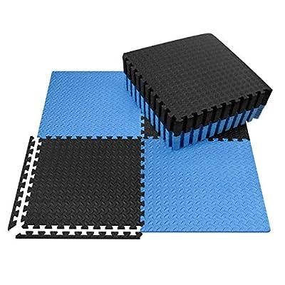 innhom Exercise Mat Gym Mat Interlocking Foam Mats EVA Foam Floor Tiles with Protective Flooring Mats for Gym Equipment Workouts, 12 Black and 12 Blue