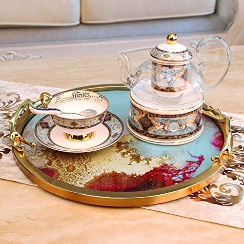 BRIGHTZ Living de estilo europeo de habitaciones Mesa de Home Plate Decoración Adornos Crafts bandeja de frutas de zinc Cubierta de la aleación de Acción de Gracias 38cm diámetro, altura de 5 cm elega