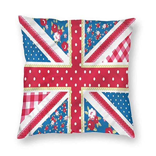 YUAZHOQI Pillow Covers 16' x 16', Shabby Chic,British Flag Floral, Square Decorative Pillowcases for Bench Couch Livingroom(1 Pack)