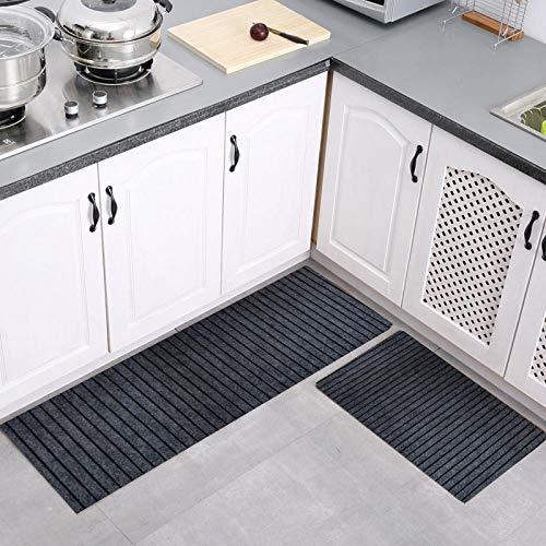 Antislipmat voor keuken, wastafel voor, 2 absorberende matten voor badkamer, douchedeur, mat voor toegangsdeur, 7 strepen, donkergrijs, 40 x 60 + 40 x 120 cm