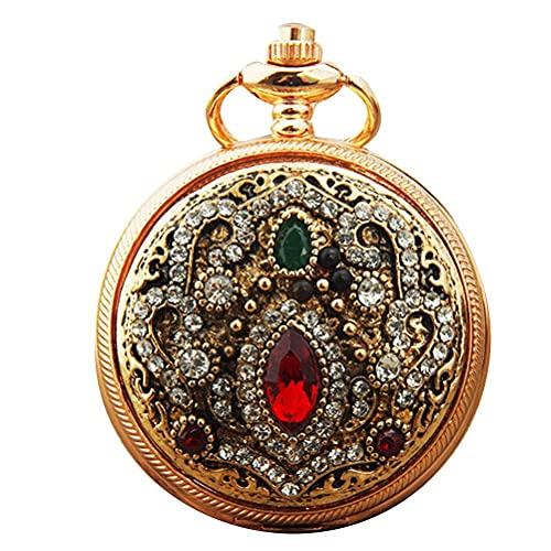 Reloj de bolsillo, reloj de bolsillo redondo, reloj de diamantes de imitación con incrustaciones, reloj de cuarzo retro, reloj colgante de bricolaje, para niñas, mujeres, regalo para cumpleaños, navi