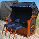 XINRO® Strandkorb XXL Ostsee blau - schwarz kaufen # 2 Bezüge (Grundbezug + abnehm- und waschbarer Wechselbezug) # inkl. Schutzhülle