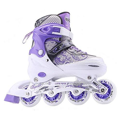 Inline-Skate, Kinder-Quad-Skates, verstellbarer und gepolsterte Roller Skates, verstellbare Training zweireihig Roller Skates, mehrere Größen, bunter Entwurf (Farbe: Lila, Größe: 39-42code) dongdong