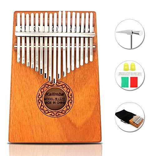 GUNAI 17 Schlüssel Kalimba Daumenklavier, Mahagoni Marimba Instrument mit Tuninghammer und 7 Zubehör für Musikliebhaber Anfänger