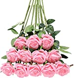 Tifuly 12 PCS Rose Artificial Flower, Single Stem Fake Flowers Bridal Wedding Bouquet, Realistic Blossom Flora for Home Garden Party Hotel Office Decorations (Rose Pink)