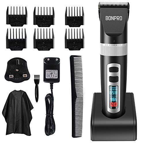 BONPRO Haarschneidemaschine für Männer, Profi Haarschneider Akku-Akku, Keramikklinge, 5 einstellbare Längen, LCD-Display, 3 Laufgeschwindigkeiten, Haartrimmer mit 6 Kämmen