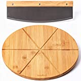 Bamboo Pizza Board with Large Knife – Wood Pizza Peel – 13.5-inch Pizza Cutting Board Set for Uniform Slices – Steel Sharp Blade with Cover – Double-Sided Wooden Cutting Board