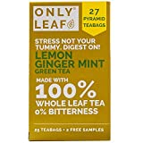 ONLYLEAF Lemon Ginger Mint Green Tea for Better Digestion, Made with 100% Whole