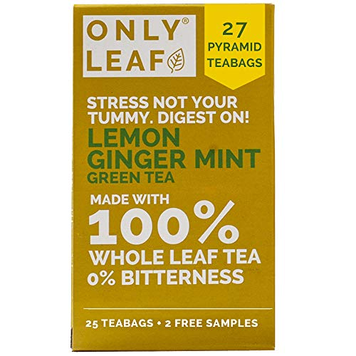 ONLYLEAF Lemon Ginger Mint Green Tea for Better Digestion, Made with 100% Whole Leaf & Natural Flavors, 27 Pyramid Tea Bags (25 Tea Bags + 2 Free Samples)