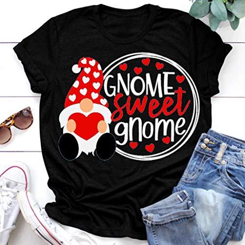 ღLILICATღ San Valentín Camiseta con Estampado De Corazones para Mujer Blusa de Manga Corta Suelta Casual...