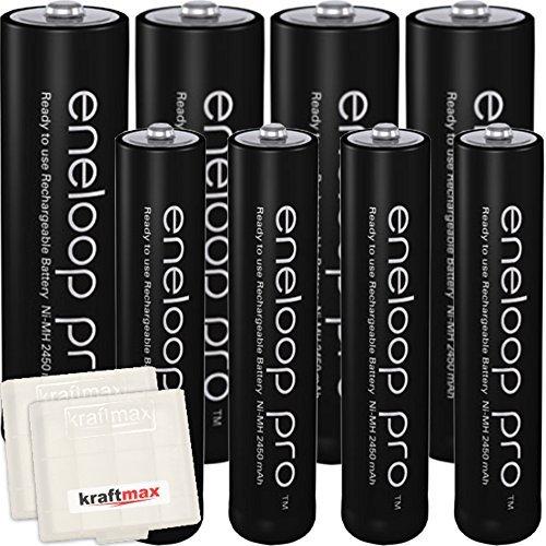 kraftmax 8er-Pack Panasonic Eneloop PRO XX Akkus - 4X Mignon AA + 4X Micro AAA - Neueste Generation - Hochleistungs Akku Batterien Akkuboxen V5