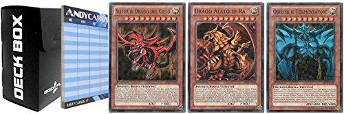 Konami Yu-Gi-Oh! Set divinità Egizie (Drago Alato di RA, Obelisk Il Tormentatore, Slifer Il Drago del Cielo) Rarità BP02 Mosaico con 1 Deck Box Nero God-Player e con 1 Segnapunti ANDYCARDS