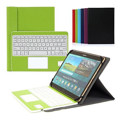 CoastaCloud Bluetooth 3.0 Tastiera Cassa con QWERTY Italiano Layout Smontabile Tastiera e multi touchpad - Compatibile con 9.0 -10.6 pollici Qualsiasi Windows / Android OS Tablet PC (Tablet formato adeguato: Min 15x24cm Max 18x26cm)Verde
