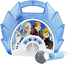 Frozen 2 Sing Along Boombox with Microphone, Built in Music, Flashing Lights, Real Working Mic for Kids Karaoke Machine, Connects Mp3 Player Aux in Audio Device (115)