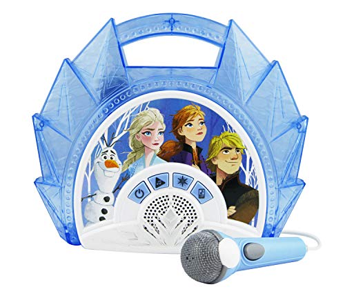Frozen Sing Along Boom Box Speaker with Microphone for Fans of Frozen Toys for Girls, Kids Karaoke Machine with Built in Music and Flashing Lights