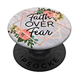 Faith Over Fear In Rose Pink & Flowers PACM038e PopSockets PopGrip: Swappable Grip for Phones & Tablets
