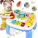 HOMOFY Spieltisch mit Musik-Lernfunktion für Babys ab 12–18 Monaten, für frühkindliche Erziehung, Musikaktivitäts-Spieltisch, Kleinkinder, Spielzeug für 1 2 3 Jahre, verschiedene Beleuchtung und Sound