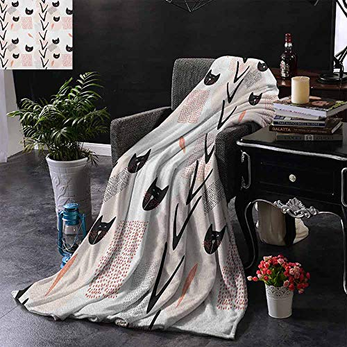 ZSUO Reisdeken Kat Vissen met Lange Staart Zittend op de Maan onder Starry Sky Humor Sketch Art Extra Gezellig, Machine Wasbaar, Comfortabel Huisdecoratie