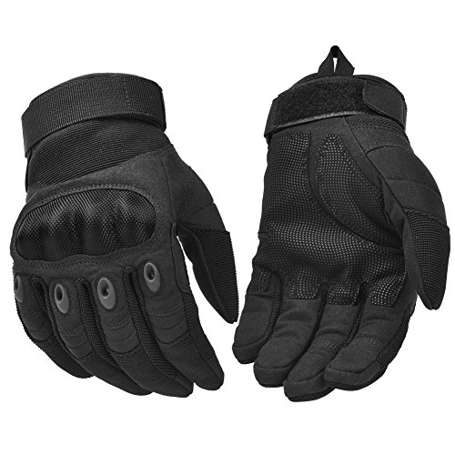 REEBOW TACTICAL Military Tactical Gloves Motorcycle Riding Gloves Army Airsoft Full Finger Gloves Black Large