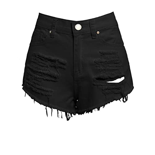 09106e4f3 SS7 New Women's High Waisted Ripped Shorts, Black, Sizes 6 to 16