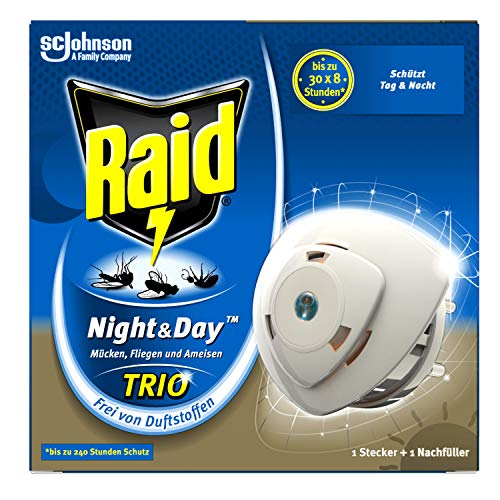 Raid Night & Day Trio Insekten-Stecker, elektrischer Mücken-Schutz auch für Fliegen und Ameisen, 1er Pack