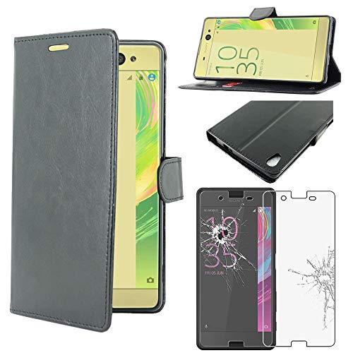 ebestStar - kompatibel mit Sony Xperia X Performance Hülle Xperia X Dual F8132 Wallet Hülle Handyhülle [PU Leder] Kartenfächern, Schwarz +Panzerglas Schutzfolie [Phone: 143.7x70.4x8.7mm 5.0