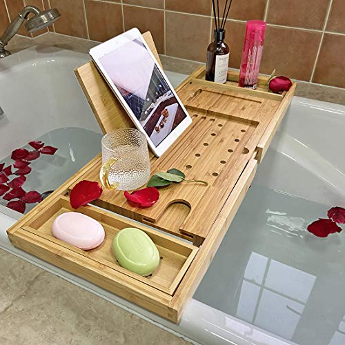 Simhoo Wide Bamboo Bath Caddy Tray Wooden Bathtub Adjustable Holder & Organizer for Glass/Soap/Notepad/Mobile/Bathroom Toiletries, Removable Boards...