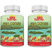 Sea Moss Capsules Double Pack. Wildcrafted Irish Sea Moss with Black Pepper Extract and Bladderwrack Burdock Root. Made in USA, Non GMO. 120 Capsules