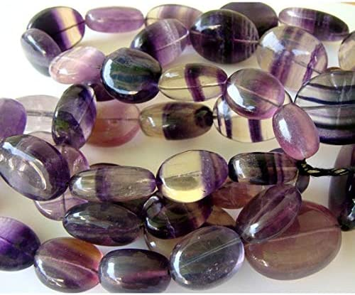 GemAbyss Beads Gemstone Classic Purple Flourite Max 49% OFF Tumbles Oval - Flat 30x2
