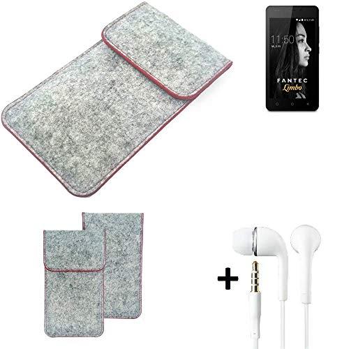 K-S-Trade® Handy Schutz Hülle Für FANTEC Limbo Schutzhülle Handyhülle Filztasche Pouch Tasche Hülle Sleeve Filzhülle Hellgrau Roter Rand + Kopfhörer