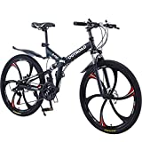Max4out Mountain Bike 21 Speed 26 inches Shining SYS Double Disc Brake Suspension Fork Rear Suspension Anti-Slip Folding Bicycle Black
