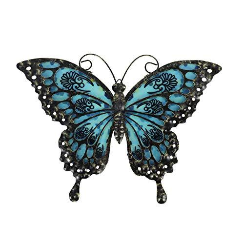 Liffy Arte de la Pared de la Mariposa del Metal Que cuelga el hogar Decorativo para la Sala de Estar y el Dormitorio, baño, Valla,Arte de jardín al Aire Libre -12 Pulgadas(Negro)