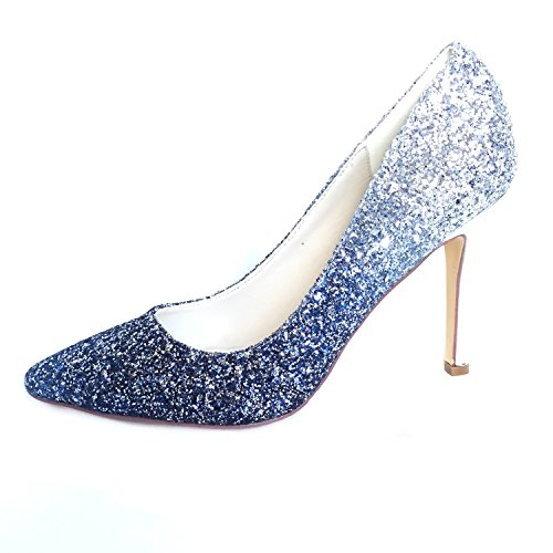 Creative SugarGradient Color Glitter Light Blue high Heels Dress Shoes Pointed Toe Pumps (9.5), Silver Blue