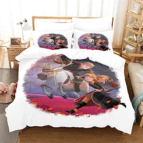 Itscominghome Disney Elsa y Anna - Juego de cama infantil 100% microfibra 3D, funda de edredón y funda de almohada (Disney 8,200 x 200 cm)