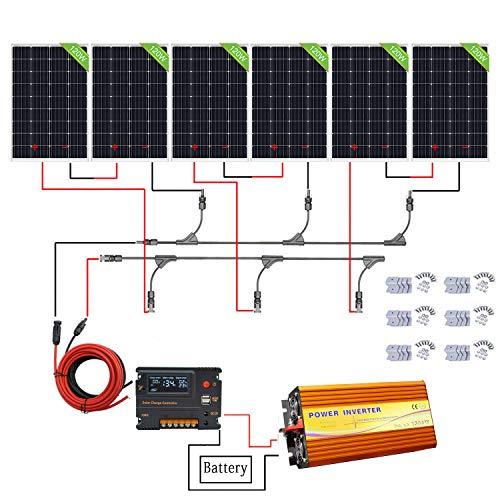 ECO-WORTHY 720W Off Grid Solar Panel Kit: 3000W 220V reiner Sinus Wechselrichter + 6 PCS 120W Mono Solarpanel + 20A Ladegerät Controller für den Haushalt