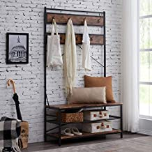 Hombazaar 3-in-1 Entryway Coat Shoe Rack, Entry Hall Tree Bench with 3 Tier Storage Shelves, Wood Furniture with Metal Frame, 7 Hooks for Garment Coats Hats Keys Umbrella Rack