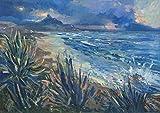 Feeling at home Lienzo-con-AMERICANO-BOX-Agaves-Plantas-en-costa-naturaleza-Zucca-Gianfranco-Costa-Bello-Arte-impresión-en madera-marco-Horizontal-20x28_in