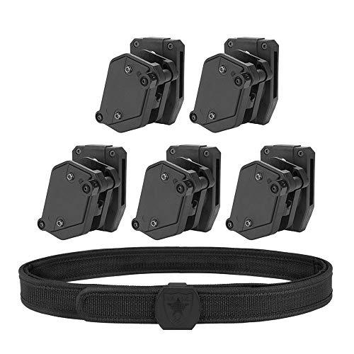 KRYDEX IPSC USPSA IDPA 3-Gun Shooting Belt & 5 pcs Speed Pistol Mag Pouch (M)